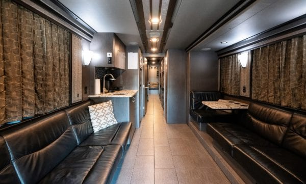 12 bunk entertainer coach lounge and kitchen area