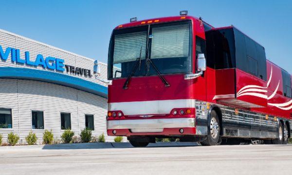 Village Travel entertainer coach for lease political campaign transportation