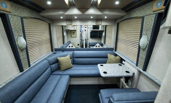 Deja Vu tour bus back lounge