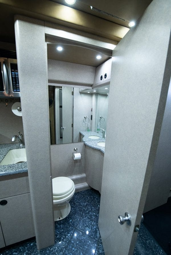 Deja Vu tour bus bathroom