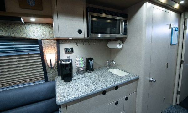 Deja Vu tour bus kitchen