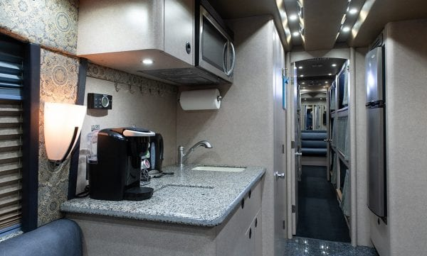 Deja Vu tour bus kitchenette