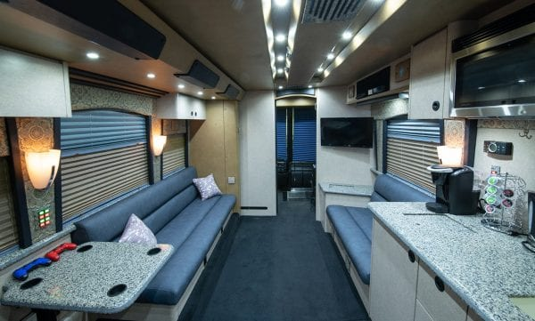 Deja Vu tour bus front lounge