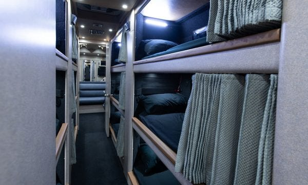 Deja Vu tour bus sleeping bunks