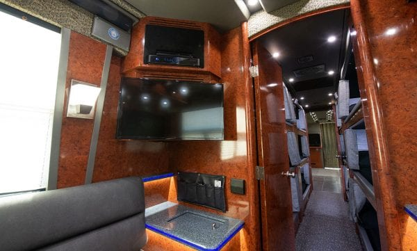 Galaxy tour bus rear lounge