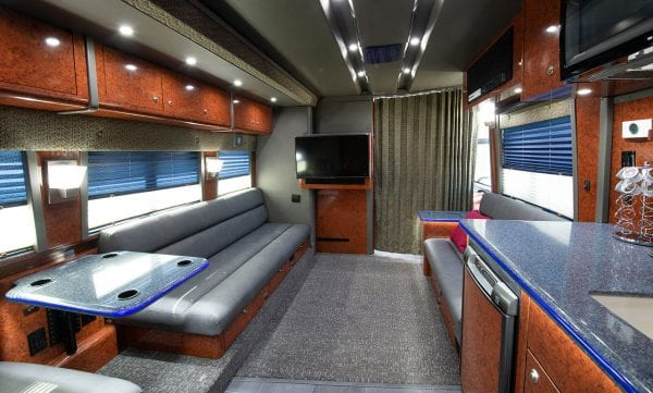 Galaxy tour bus lounge