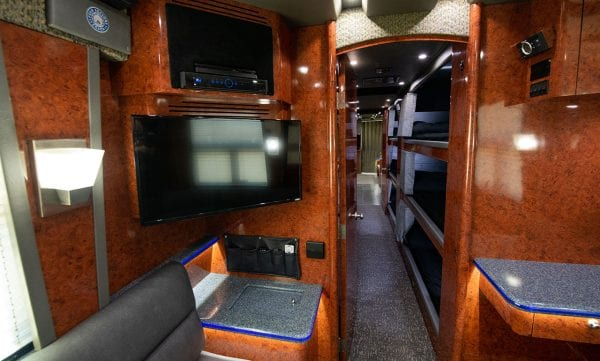 Galaxy tour bus back lounge