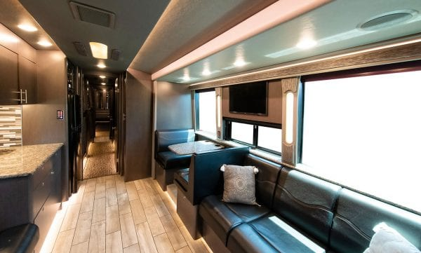 Tour bus front lounge