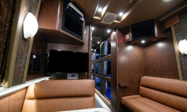 Papa tour bus rear lounge
