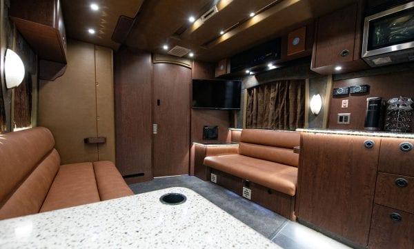 Tour bus front lounge