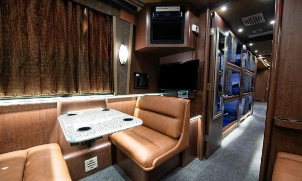 Tour bus rear seating