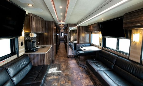 Wisdom tour bus front lounge