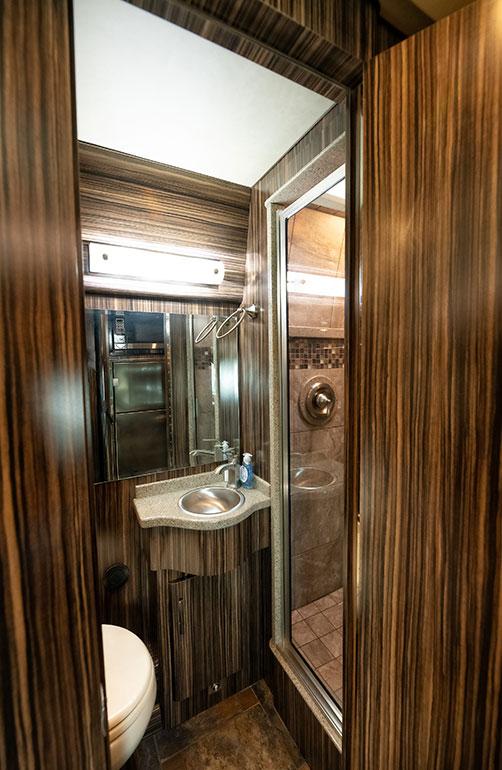 Wisdom tour bus full shower