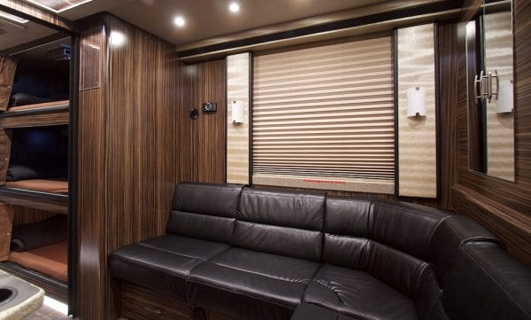 Wisdom tour bus rear lounge