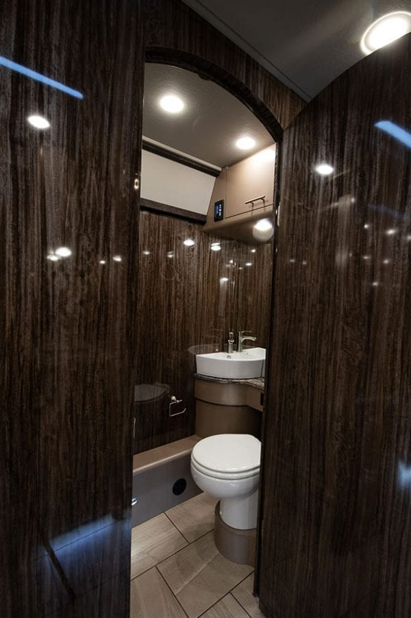 Tour bus with full restroom