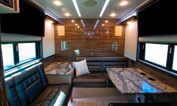 Entertainer tour bus rear lounge