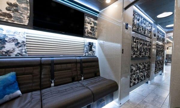 Tin Man tour bus rear lounge